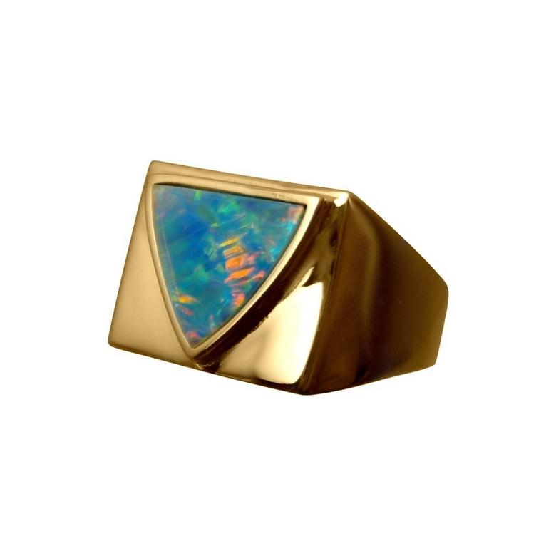 Mens Opal Ring Triangle Stone Wide Band FlashOpal