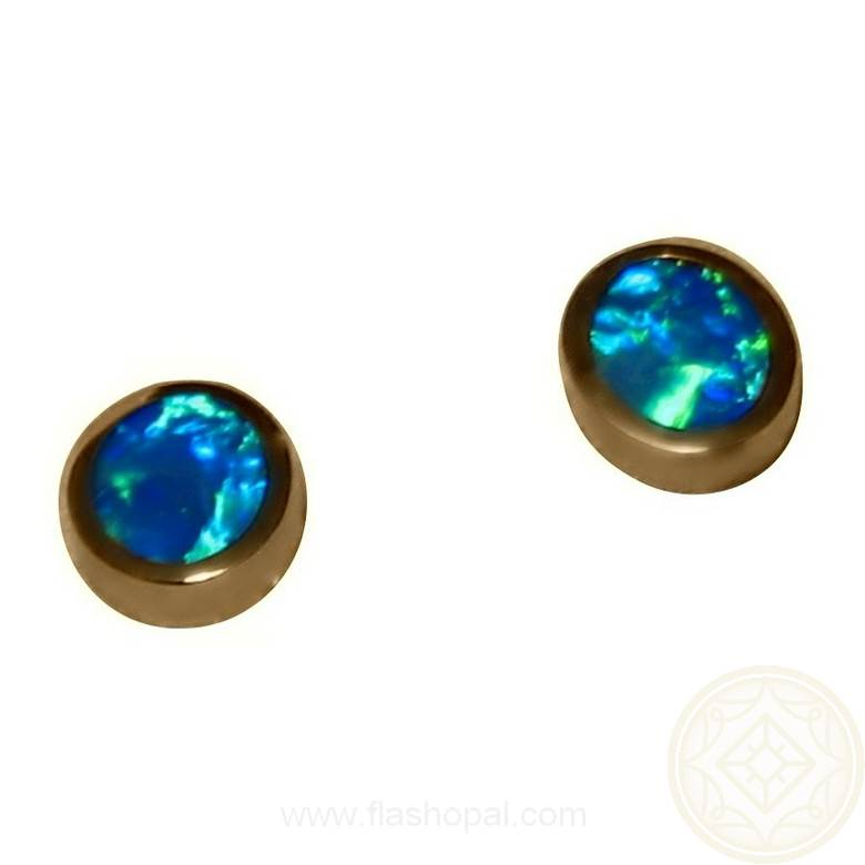 Opal Earrings 14k Studs Green Blue Opal Earrings FlashOpal