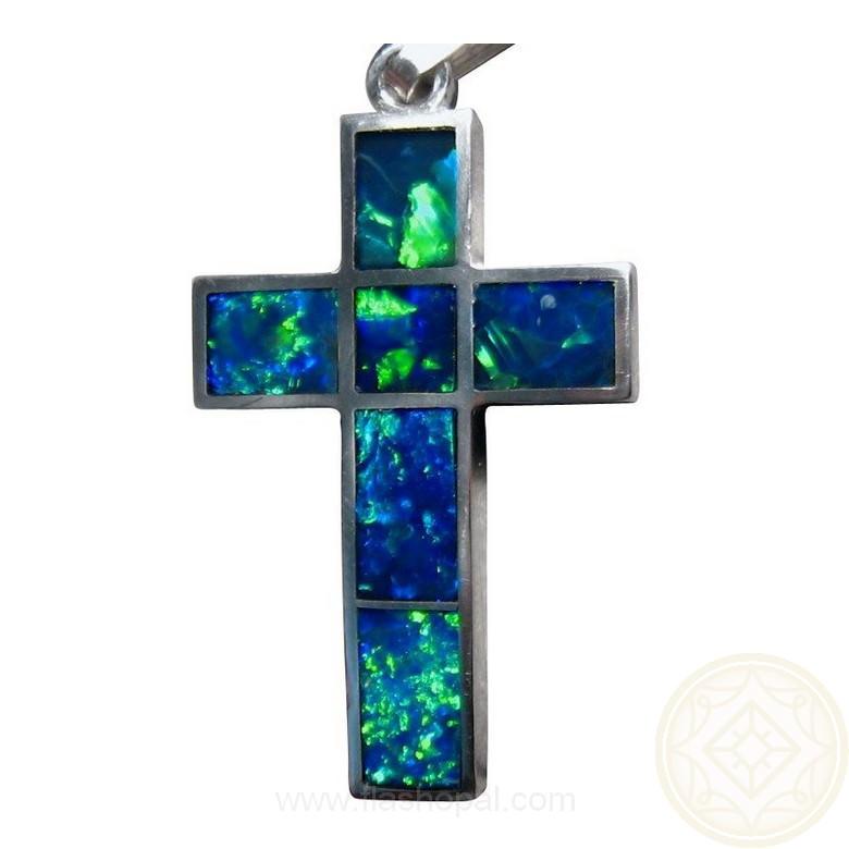 Blue Opal Cross Pendant 925 Silver Inlay Opal Pendants