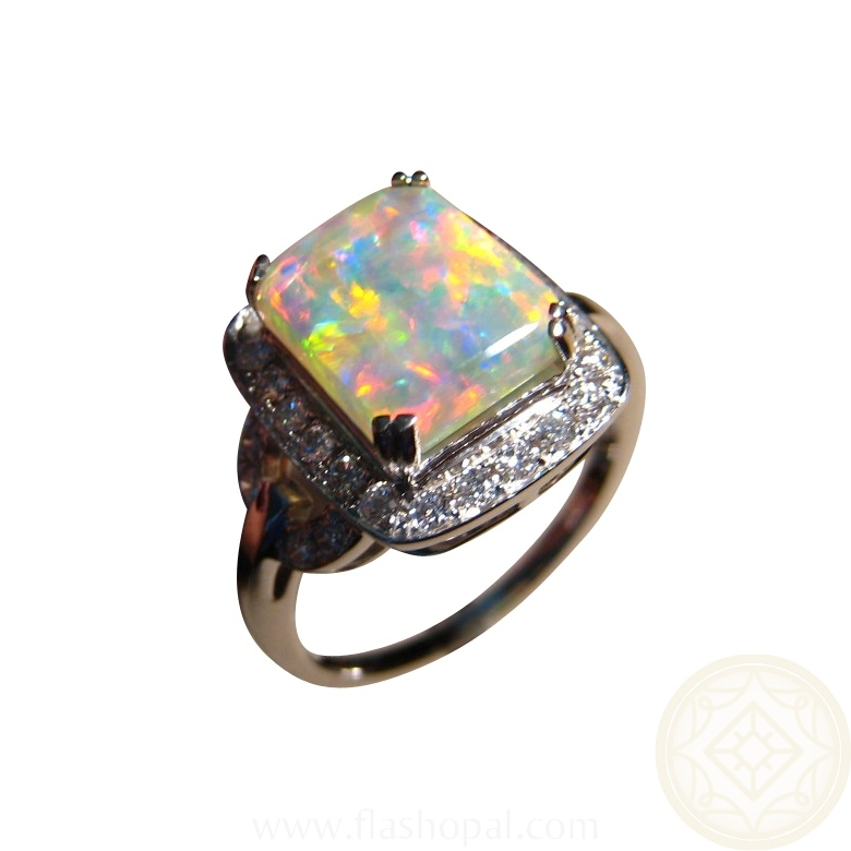 Opal Diamond Ring Rectangle Opal Engagement Rings