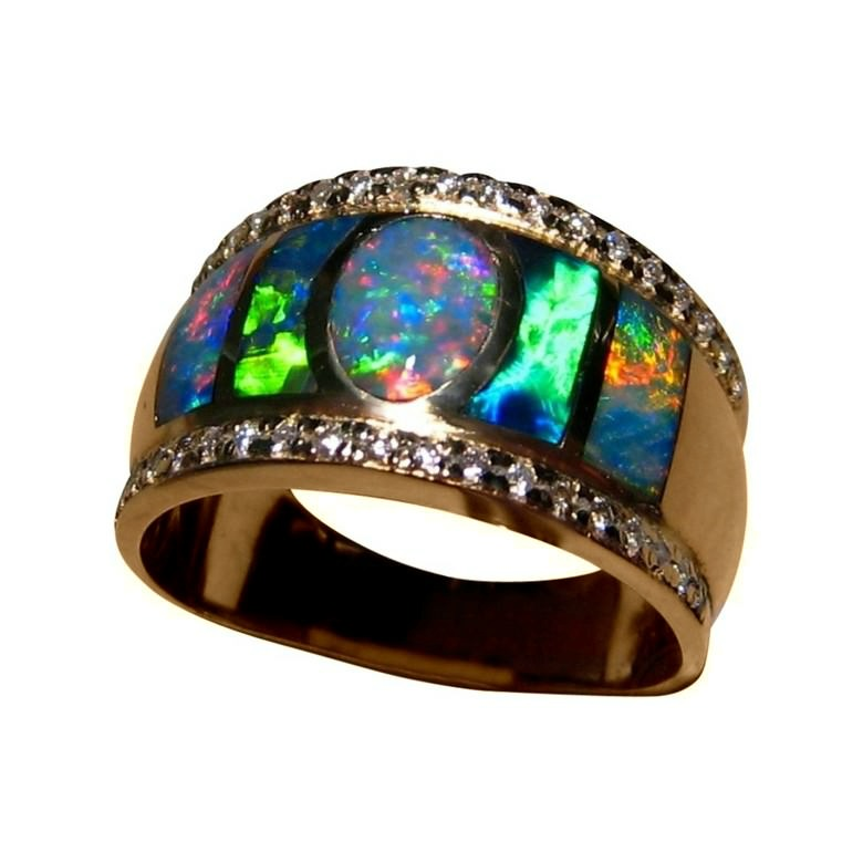 Wide Opal Diamond Ring For Men 14k Mens Opal Rings