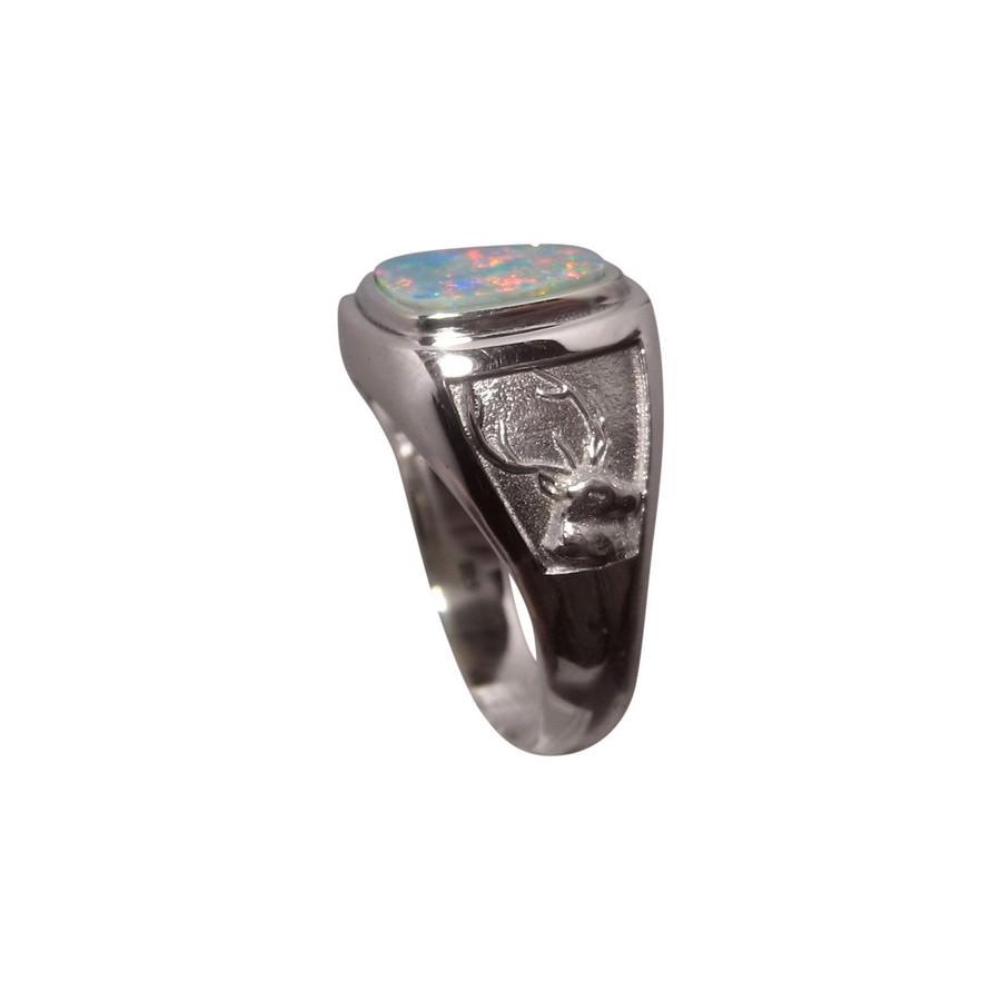 Mens Opal Ring 925 Silver Deer Buck FlashOpal