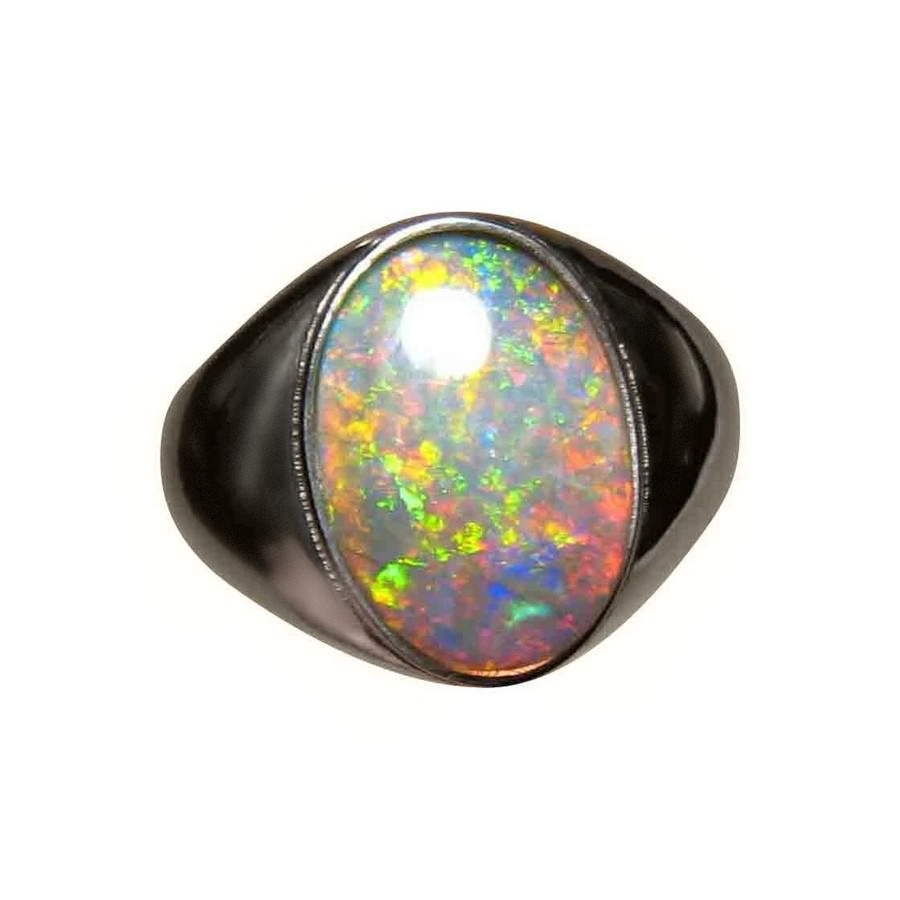 Mens Big Opal Ring Solitaire Oval FlashOpal