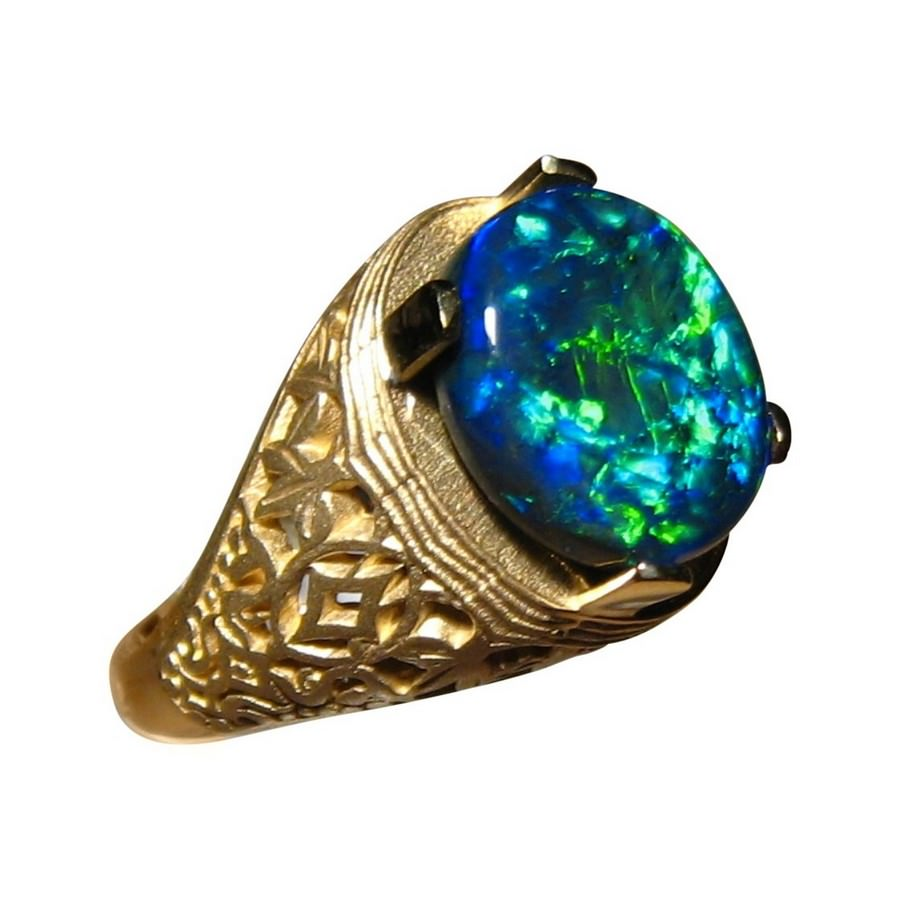 Mens Big Black Opal Ring 14k Opal Rings Men FlashOpal