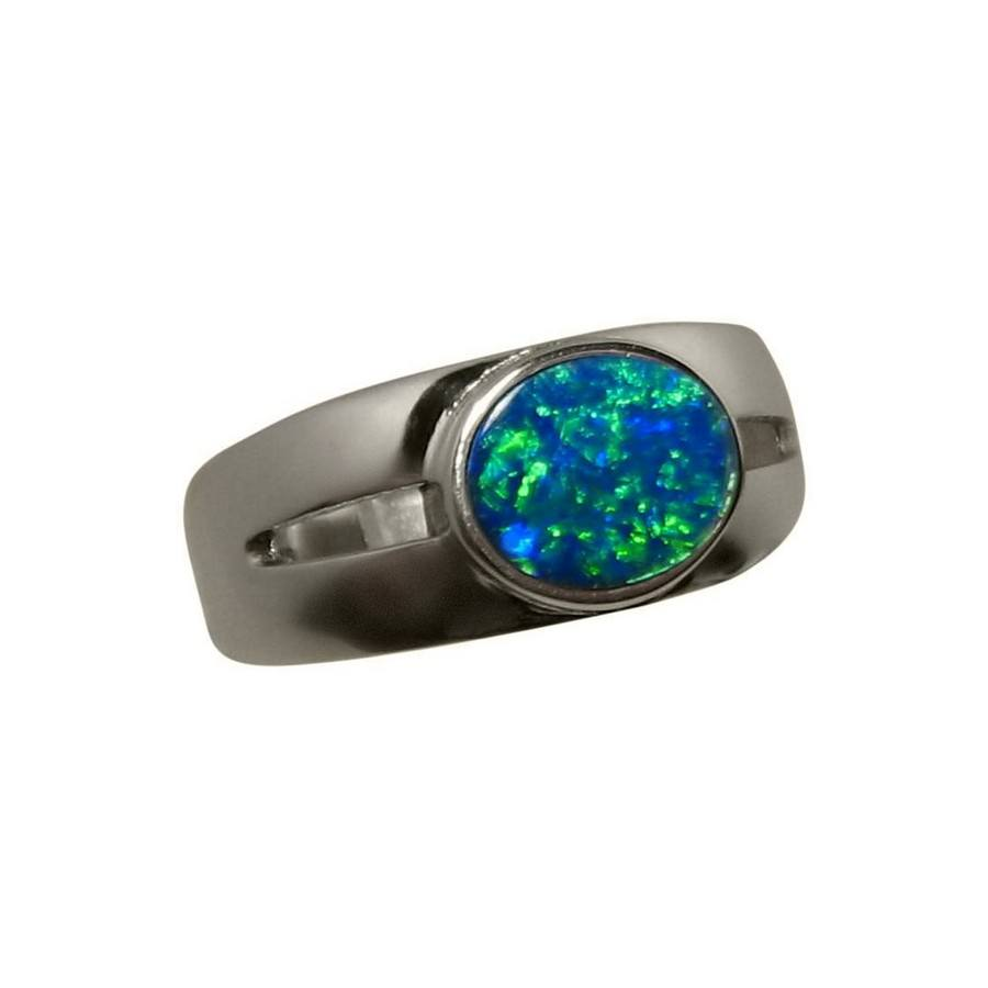 Blue Opal Ring Men Oval Solitaire Mens Opal Rings