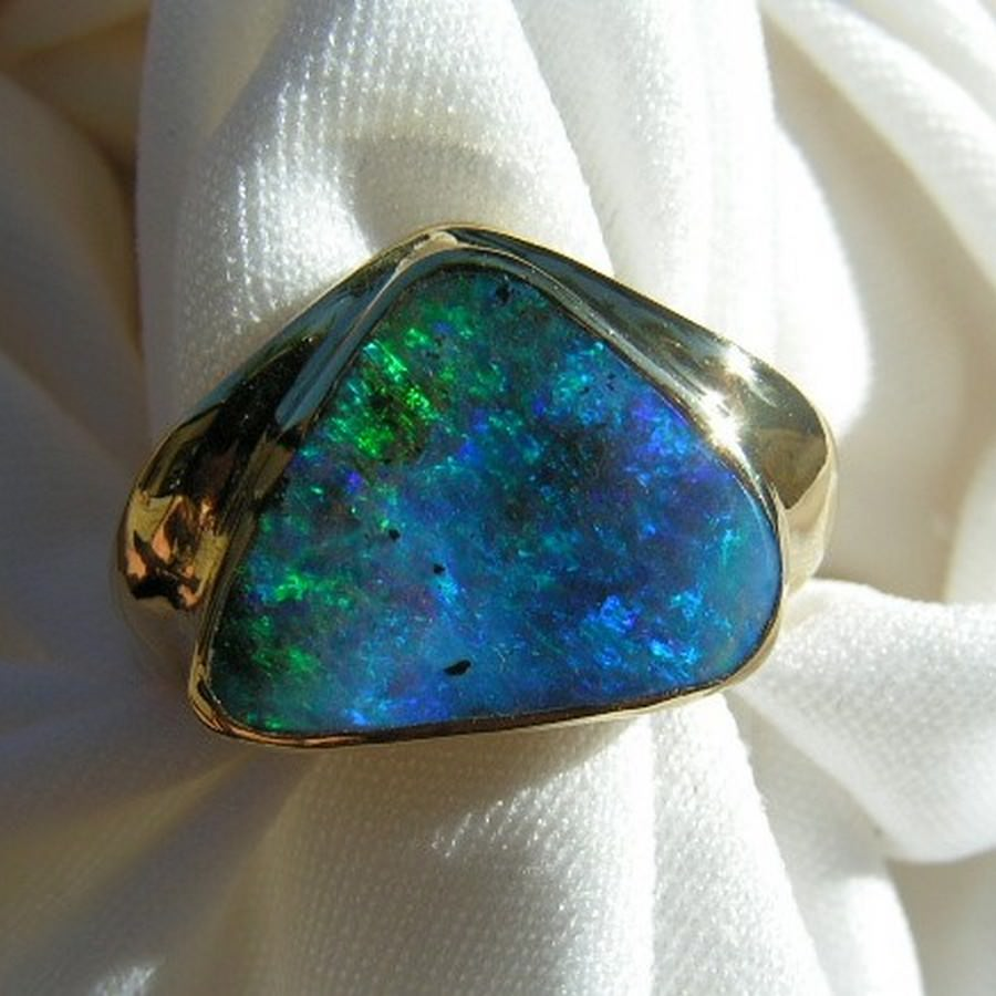 Mens Boulder Opal Ring 18k Gold Opal Rings Men FlashOpal