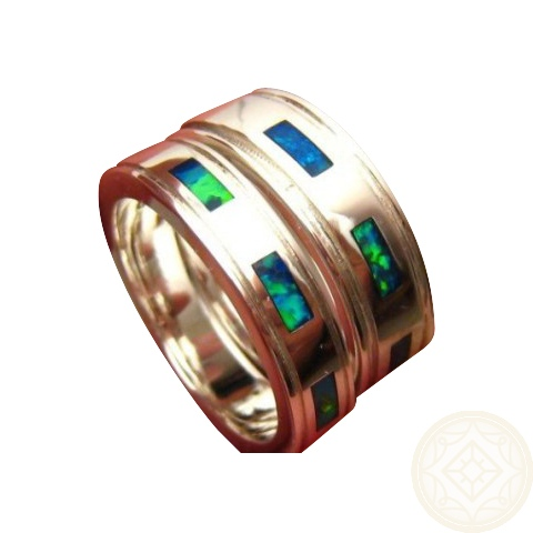 Opal Bands For Two Sterling Silver Opal Rings Set
