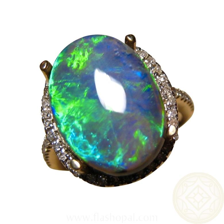 Big Green Black Opal Ring Diamonds 14k Gold FlashOpal