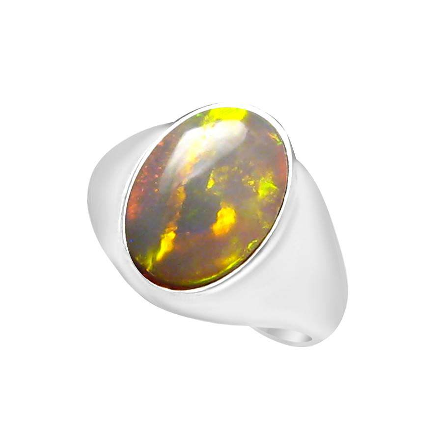 Large Opal Ring For Men 4 Carat Green Blue Oval FlashOpal