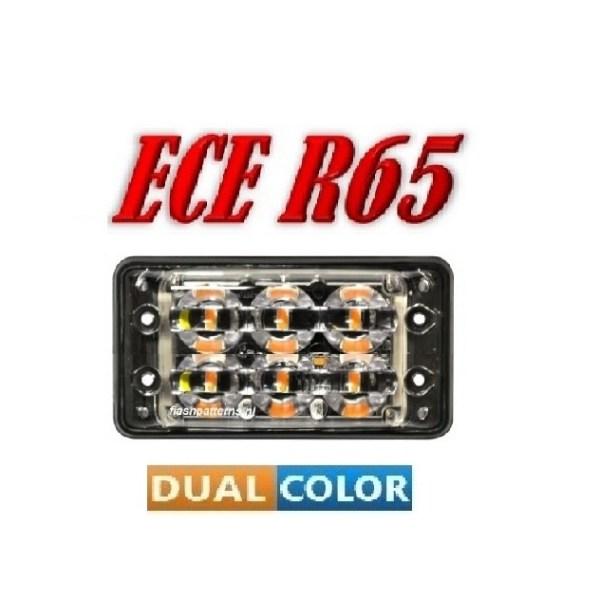 SSLT6D Dual Color 2 X 6 X 3 WATT ECER65 Amber/Blauw 12/24V