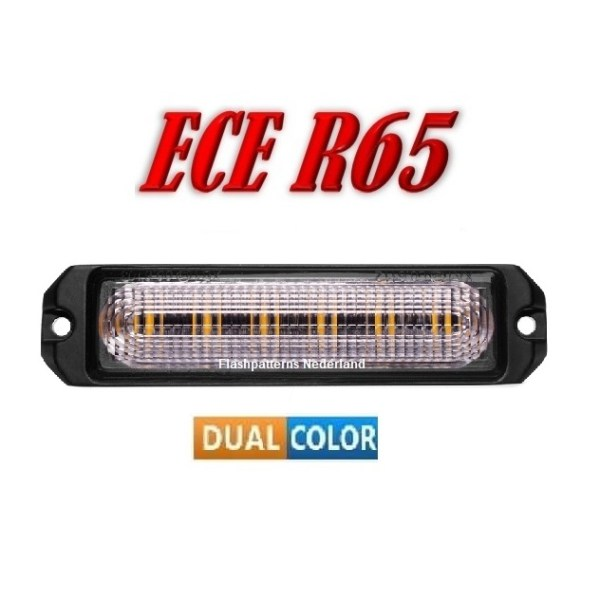 R6 Led Flitser ECER65 Super Fel 12 x 5 Watt dual color Hoog Intensitiet Leds 12-24V