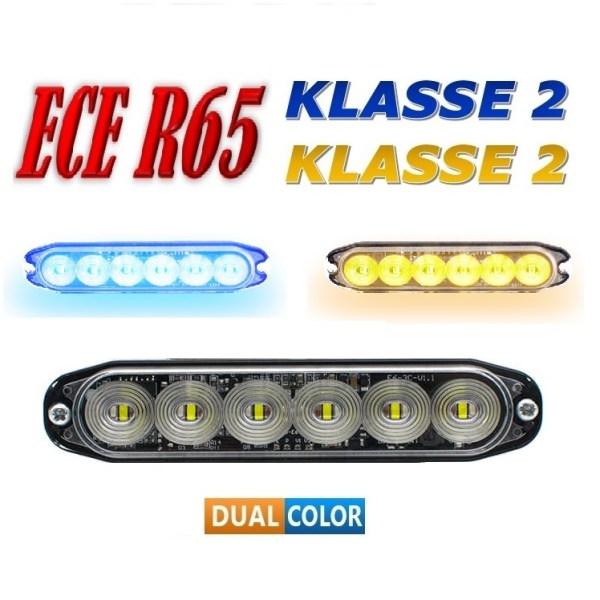 E6 Led Flitser – ECE R65 KLASSE 2 DUAL COLOR 12/24V Amber/Blauw of Blauw/Wit