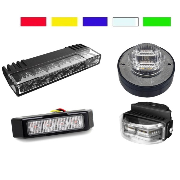 ECE-R65 LED FLITSER / GRILLE / SURFACE MOUNTS ENKEL KLEUR
