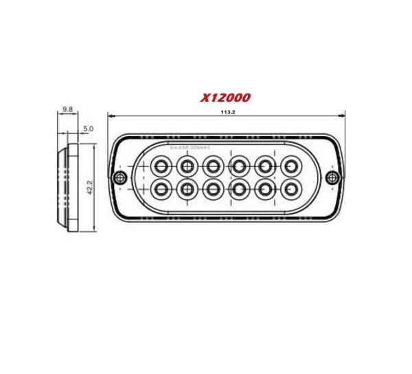 X12000 extreem led flitser maten R65 12-24V