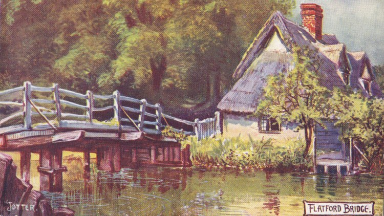 Enhanced painted postcard of Bridge Cottage by Jotter 1906