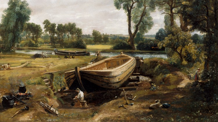 Painting of the Dry Dock at Flatford called Boat Building by John Constable 1814