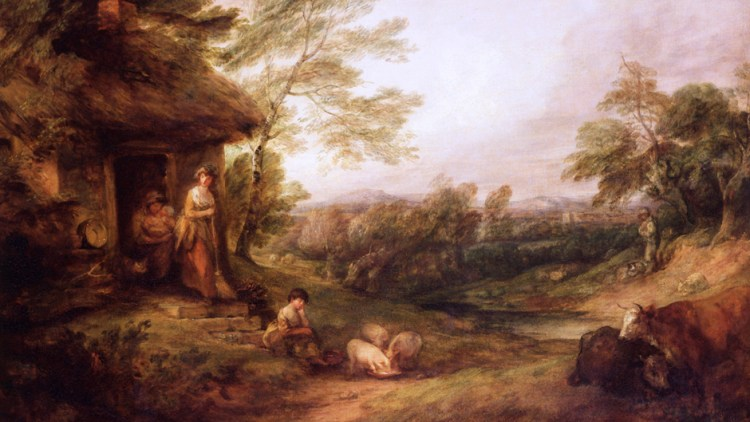 Painting of cottage door with girls and pigs by Thomas Gainsborough 1786 - Christchurch Mansions, Ipswich