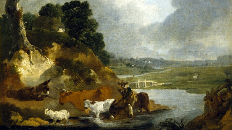 Oil painting of peasant driving a cow, calf and donkey across a stream