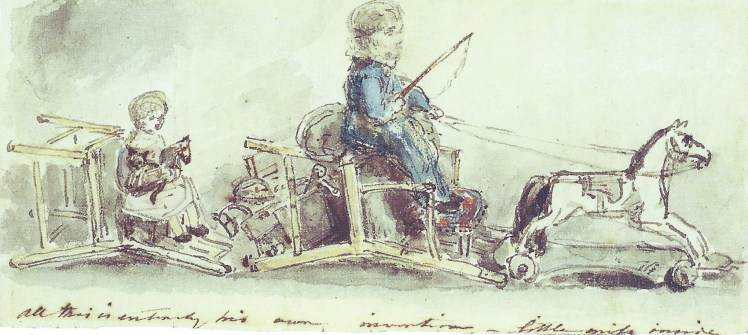 Sketch by John Constable called Drive in the Nursery - John Charles & Maria Louisa Constable 1821-2