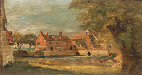 Flatford Mill from Willy Lott's House (detail from a sketch) by John Constable 1811