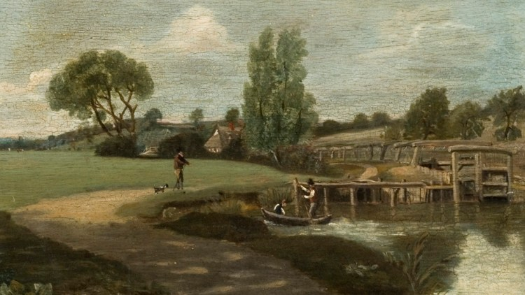 Painting of Flatford Lock by John Dunthorne 1814