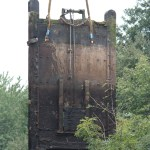 Photo of Old Flatford gates being hoisted out of the lock - 2014