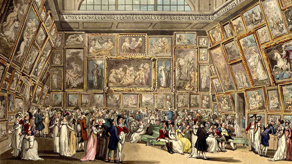Painting of Exhibition Room - Royal Academy at Somerset House by Rowlandson - 18th Century