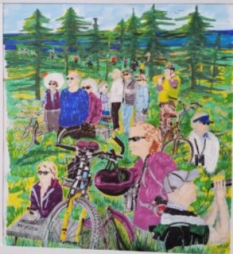 2016 Bike & Bird trip - Painting by Clancy Cone
