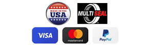 Made in the USA, Multiseal, Visa, Mastercard and Paypal logos
