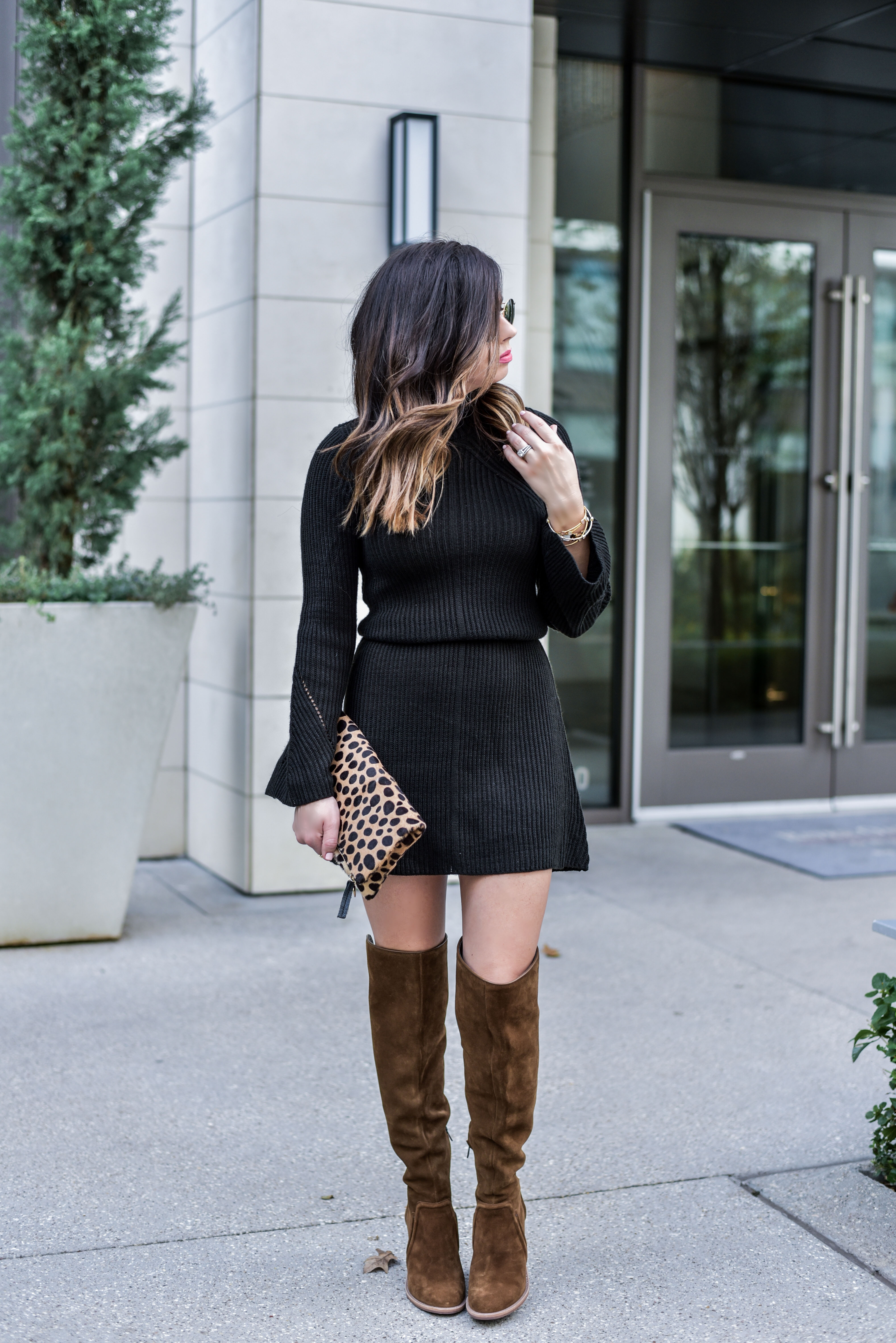 sweater dress with over the knee boots