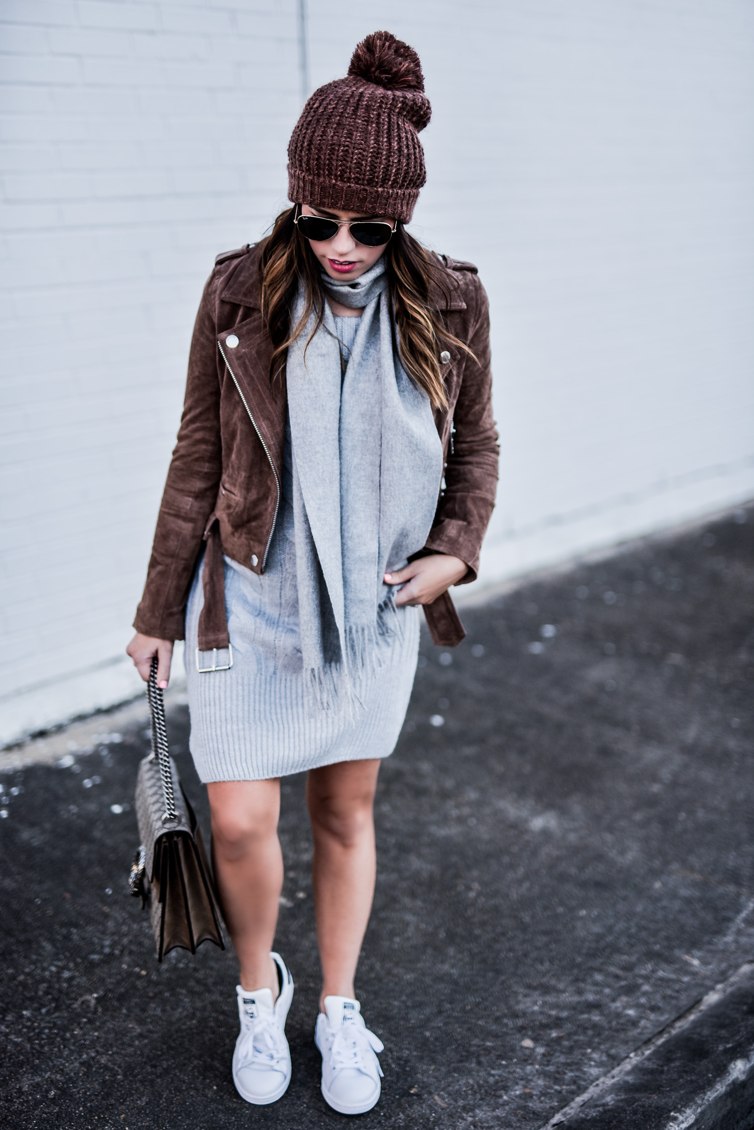 Flaunt and Center chunky knit and suede | Houston fashion and style blogger Tiffany Jais wearing an grey ASOS sweater dress and a blank NYC suede moto jacket, click here for more details | What's trending in women's fashion
