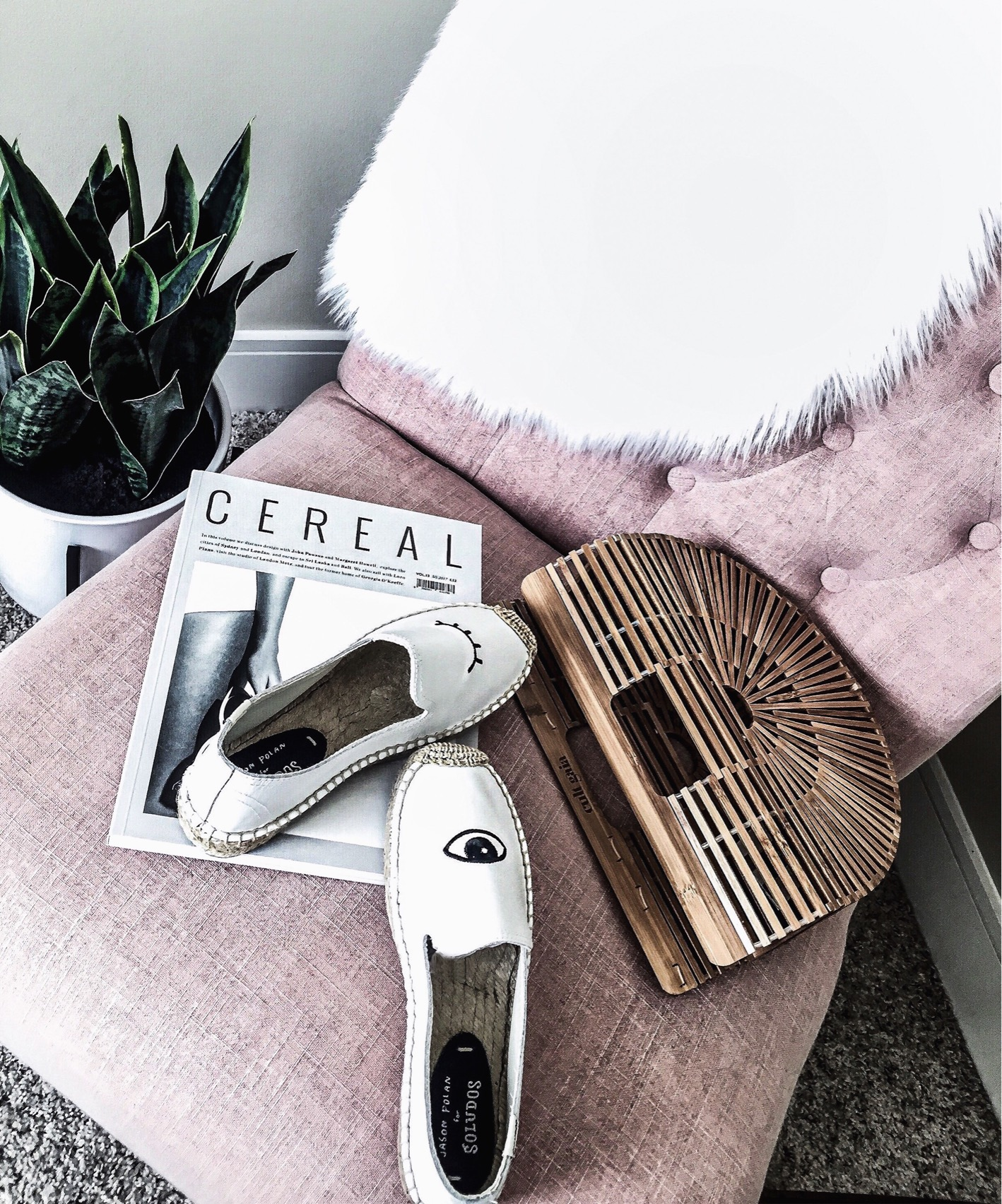 Houston fashion and lifestyle blogger Tiffany Jais   Flatlay, snake plant, office decor, cult gaia bag in size small, Soludos platforms,