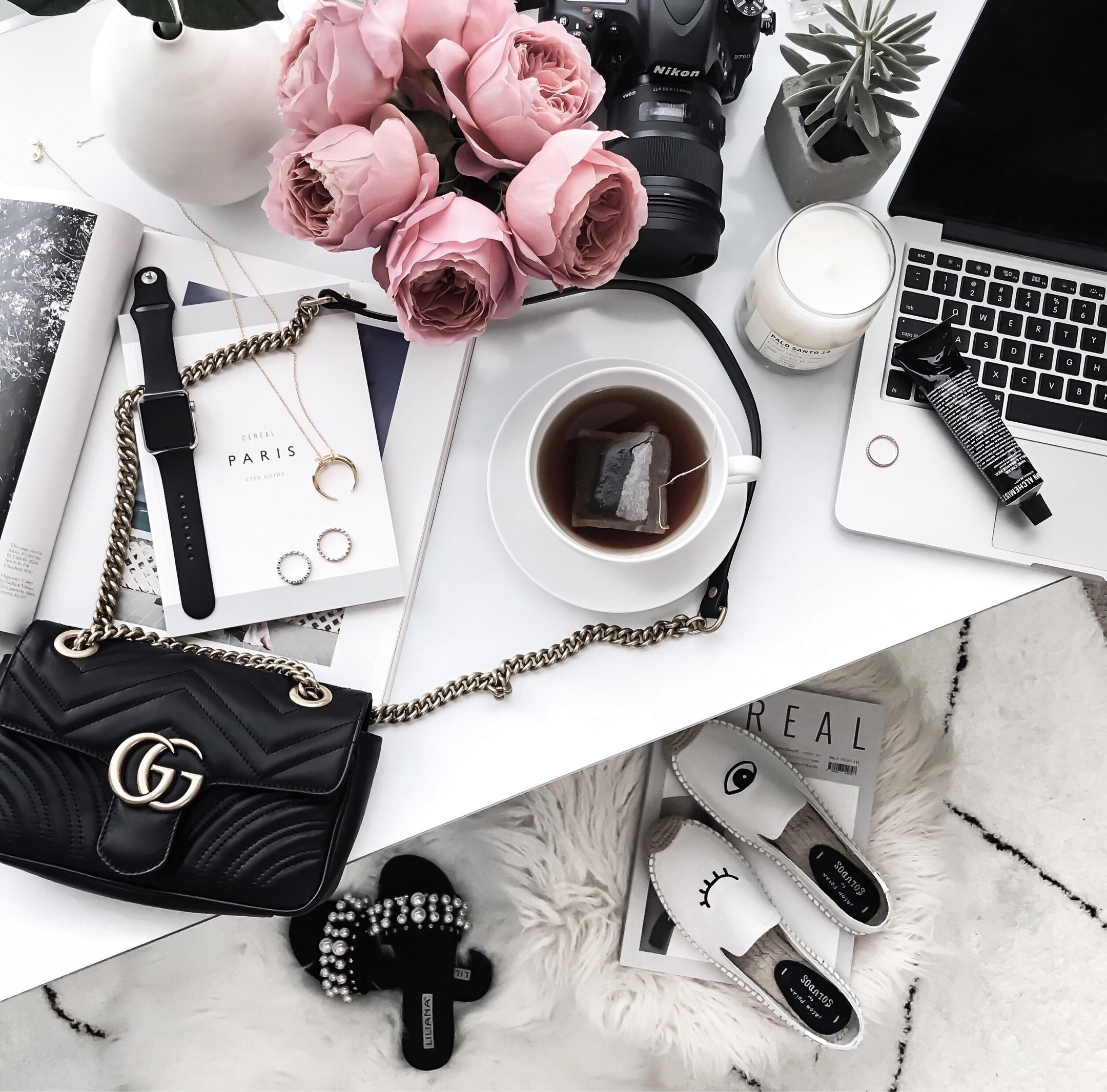 Tiffany Jais Houston fashion and lifestyle blogger | Gucci marmot bag, pearl slides, flatlay, vsco