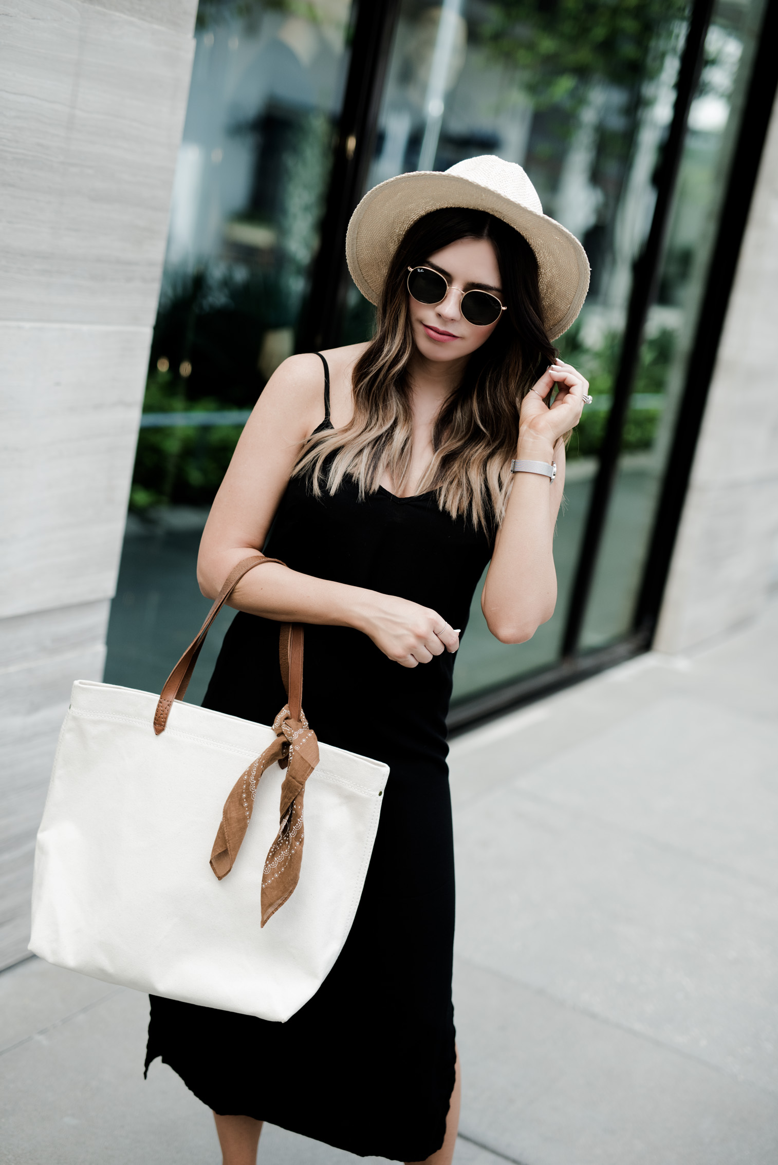 Tiffany Jais Houston fashion and lifestyle blogger | Slip dress obsessed | Slip dress street style | Madewell canvas tote, fedora hat outfit, brown slides, slides shoes
