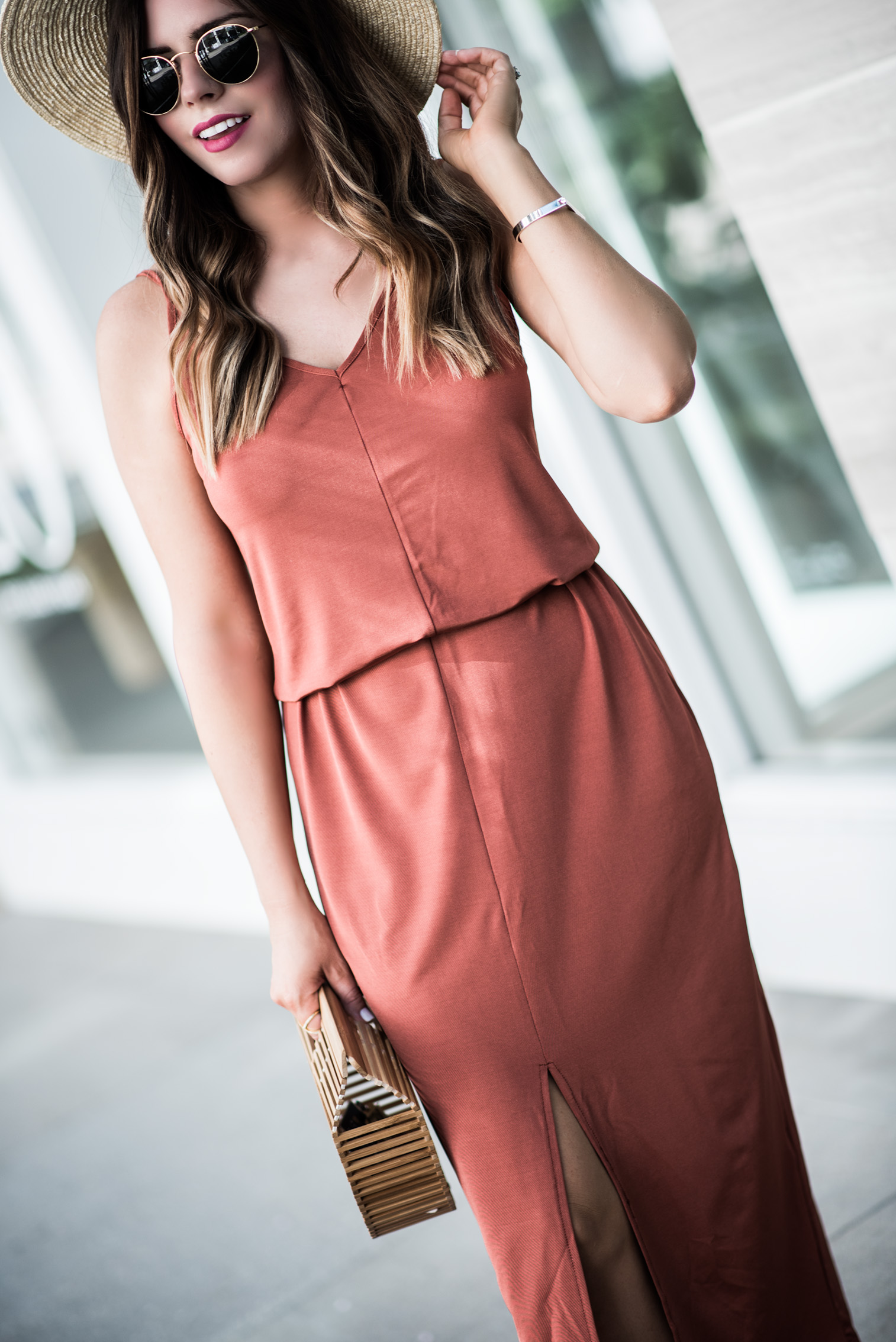 Tiffany Jais Houston fashion and lifestyle blogger   Currently trending- the slip maxi dress   casual outfits, brixton willow hat, cult gaia bag