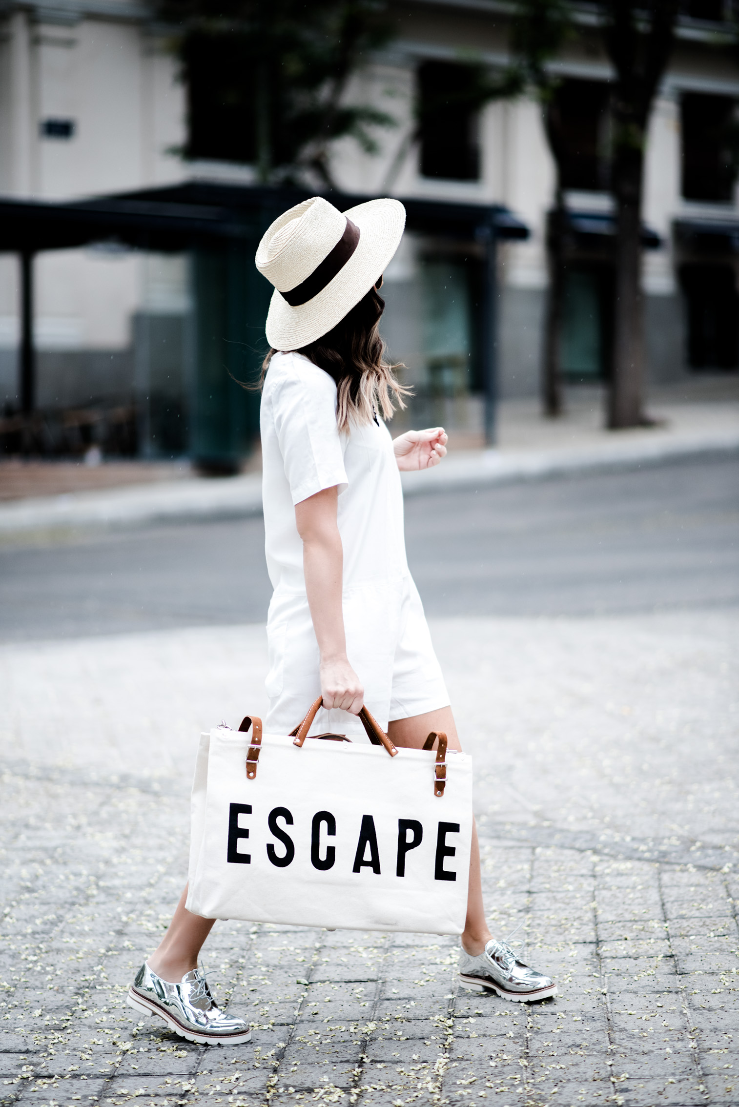 Tiffany Jais Houston fashion and lifestyle blogger   The perfect travel bag, travel bag for women, travel outfit women, brixton willow hat, Forestbound ESCAPE bag, silver oxfords,