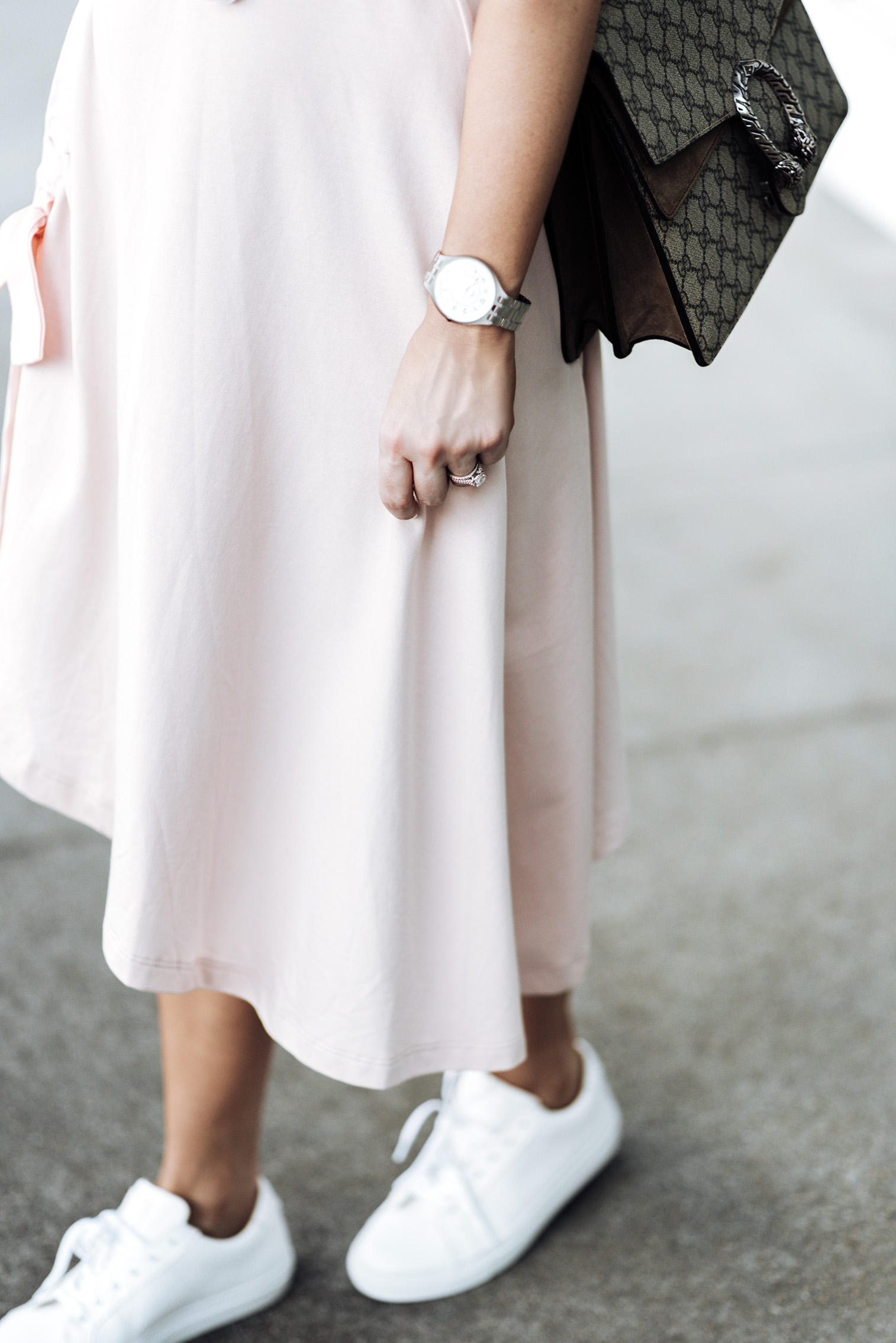 Tiffany Jais Houston fashion and lifestyle blogger | ASOS pink skirt | Cotton crew neck tee | {C/O}  Greats sneakers | Gucci Dionysus Bag | Brixton Willow hat | {C/O} Mini Marie Pendant |