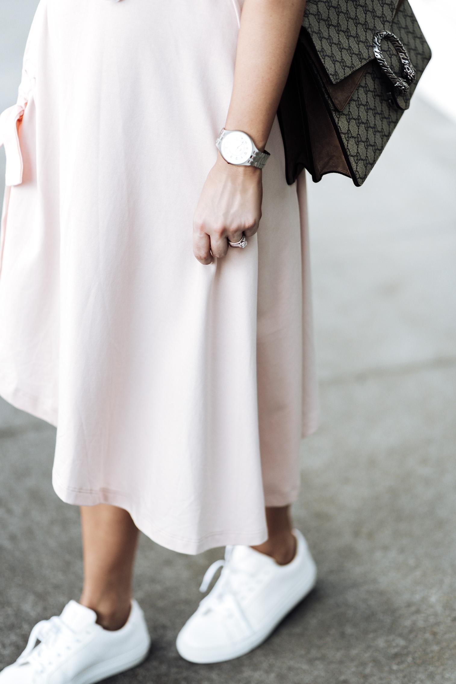 Tiffany Jais Houston fashion and lifestyle blogger | ASOS pink skirt | Cotton crew neck tee | {C/O} Greats sneakers | Gucci Dionysus Bag | Brixton Willow hat | {C/O} Mini Marie Pendant |