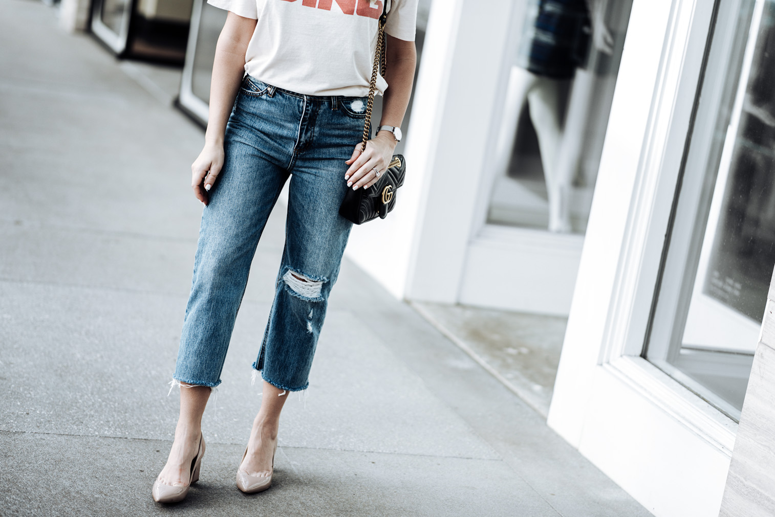 Tiffany Jais Houston fashion and lifestyle blogger | Vintage graphic tee by Annie Bing | Cropped straight leg denim jeans (Similar) | Zala pumps | Gucci Marmont bag