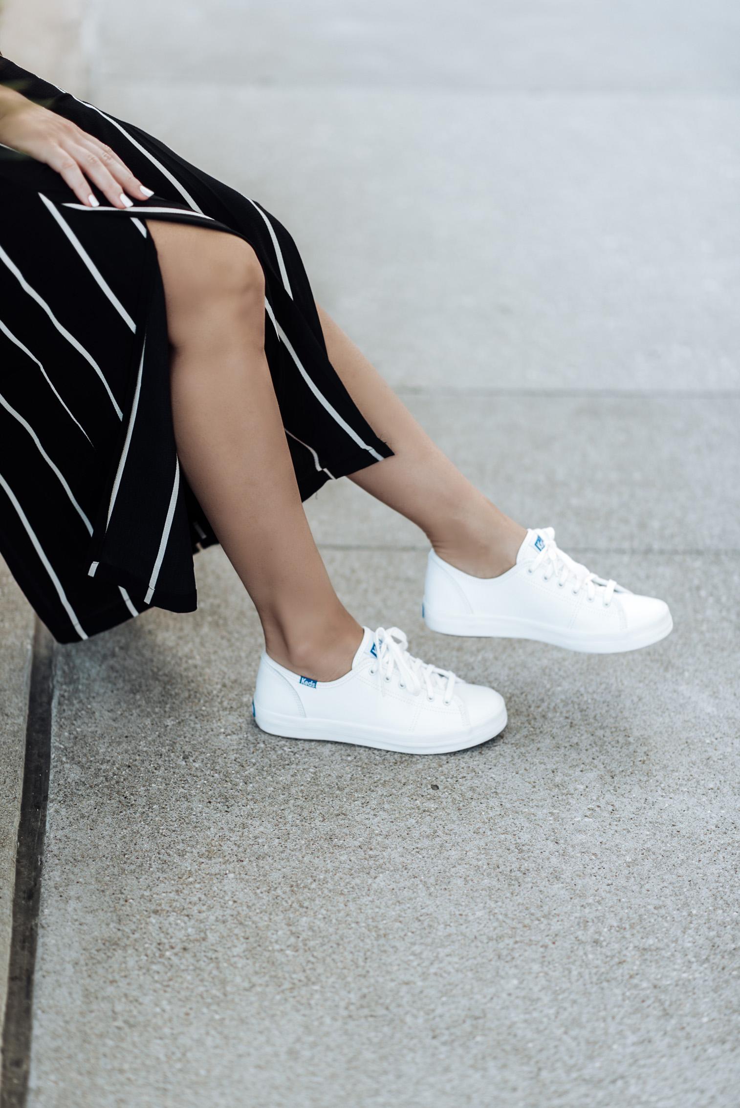 Tiffany Jais fashion and lifestyle blogger of Flaunt and Center   Houston fashion blogger   Streetstyle blog   {C/O Keds   Striped pants (Similar style)   White tee (similar)   Bag  