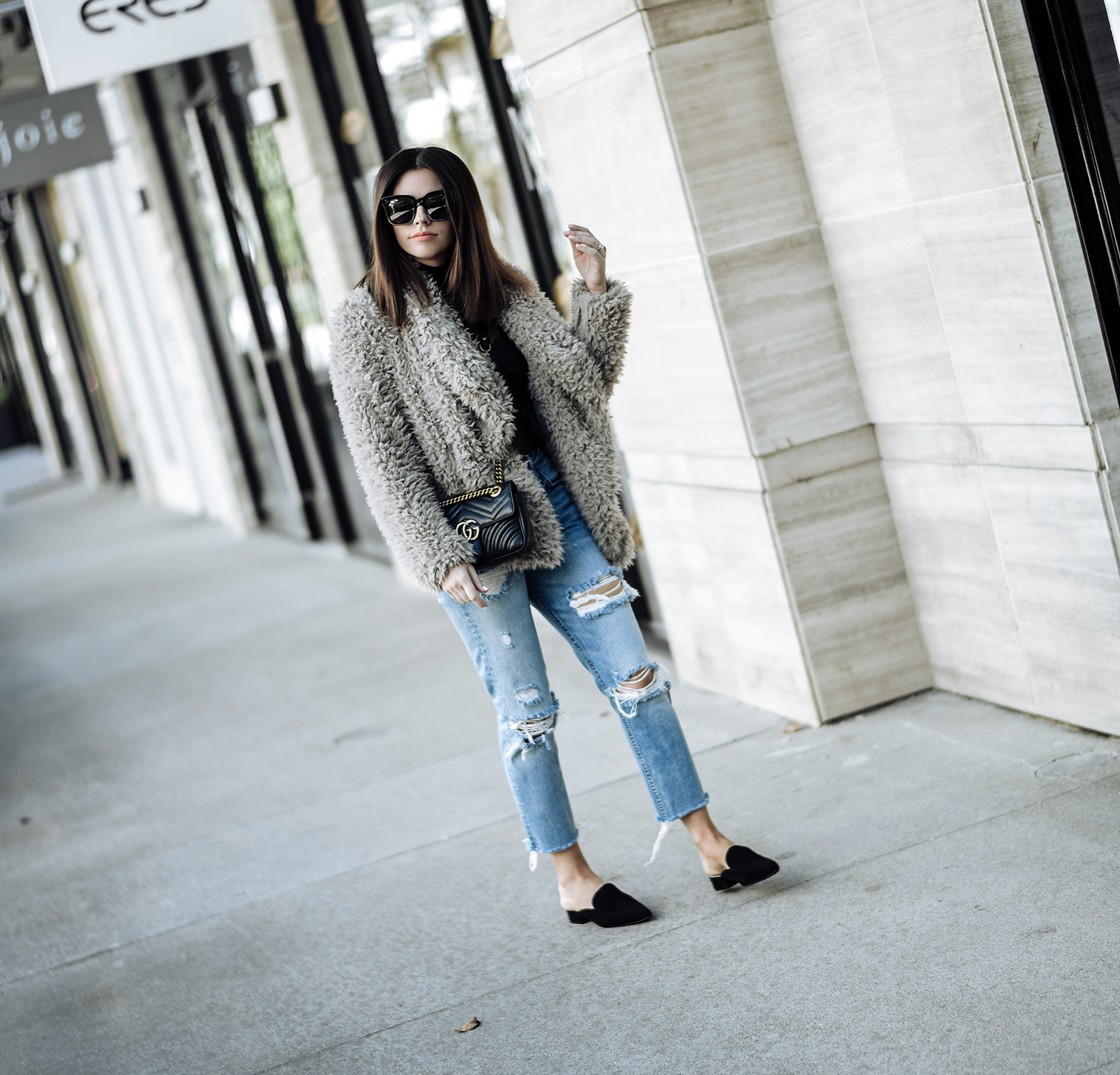 Must have fall items with Zappos and Cole Haan Cole Haan | Girlfrnd Denim | Gucci Marmont bag in black | Faux Fur Blush Jacket in Blush (Similar) |Tiffany Jais fashion and lifestyle blogger of Flaunt and Center | Houston fashion blogger | Streetstyle blog | Personal style online #falloutfits #colehaan #fauxfurcoat #fauxfuroutfits