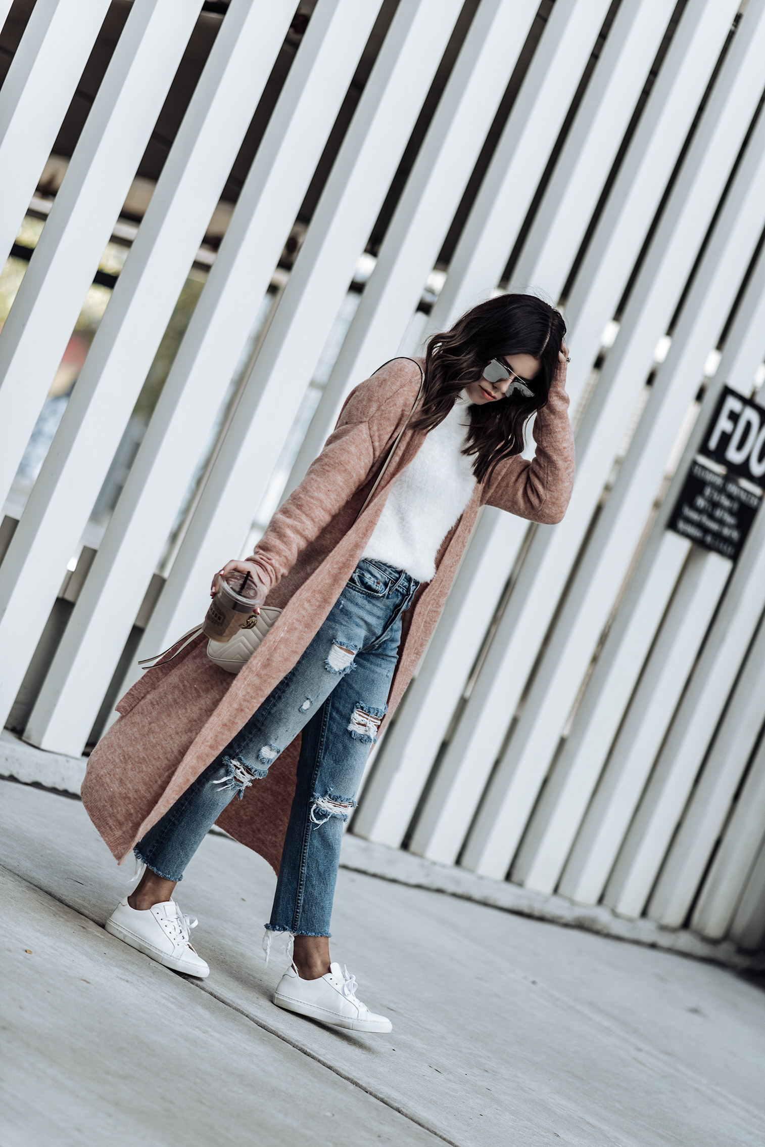 "Long Cardigan | GRLFRND denim | Fuzzy sweater | Greats sneakers ""The Royal"" 