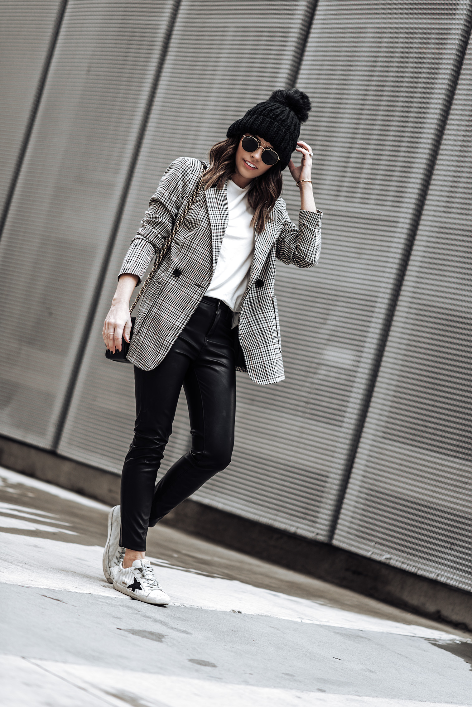 After Christmas sales |Tiffany Jais fashion and lifestyle blogger of Flaunt and Center | Houston fashion blogger | Streetstyle blog | Plaid blazer, beanie outfit, leather pant outfits, golden goose sneakers