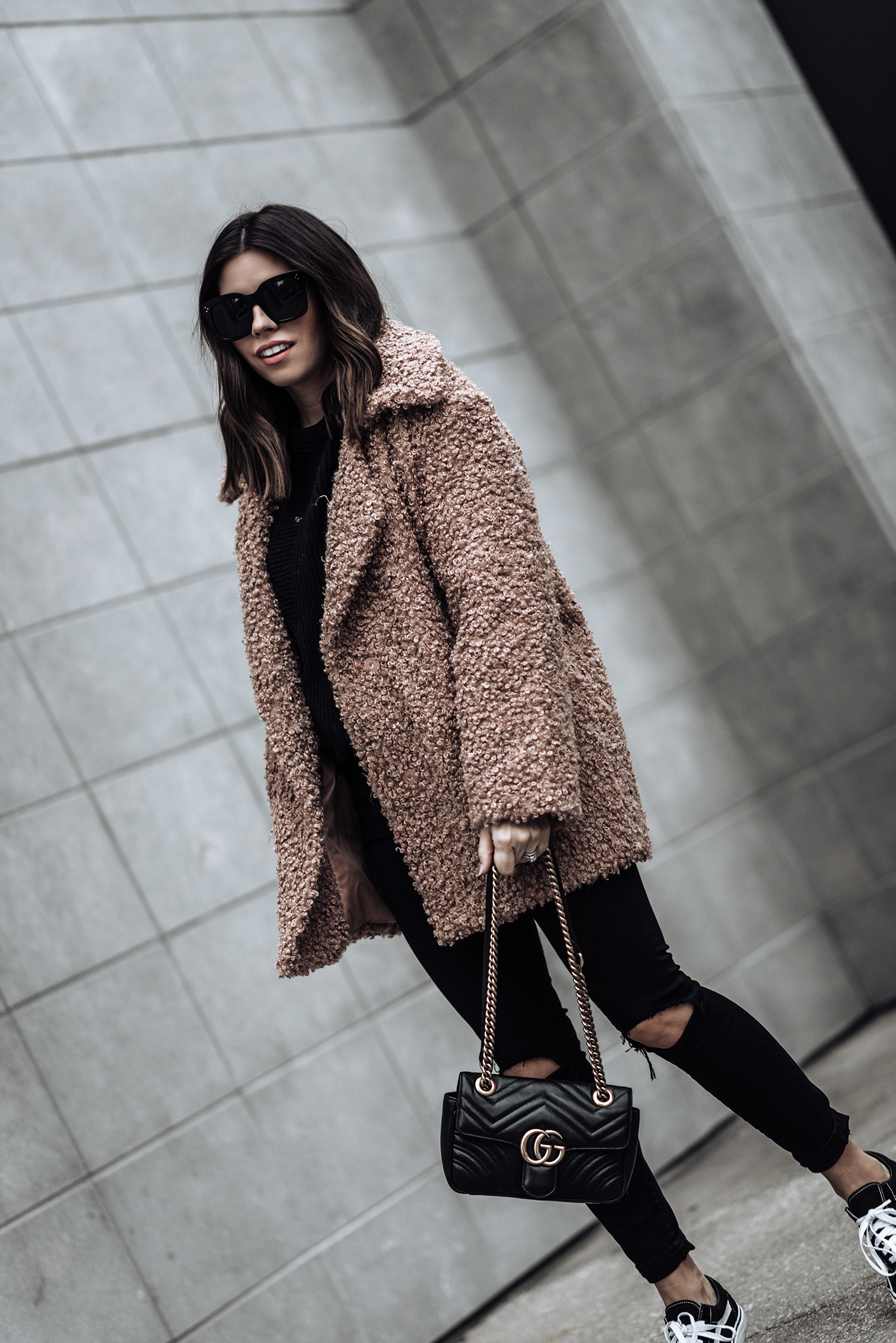 Tiffany Jais fashion and lifestyle blogger of Flaunt and Center | Houston fashion blogger | Teddy Coat | Streetstyle blog Teddy coat (similar) | G Shock Watch | Lovers + Friends Mason High-Rise Skinny Jeans | Vans Old Skool Sneakers | Gucci marmot Bag |