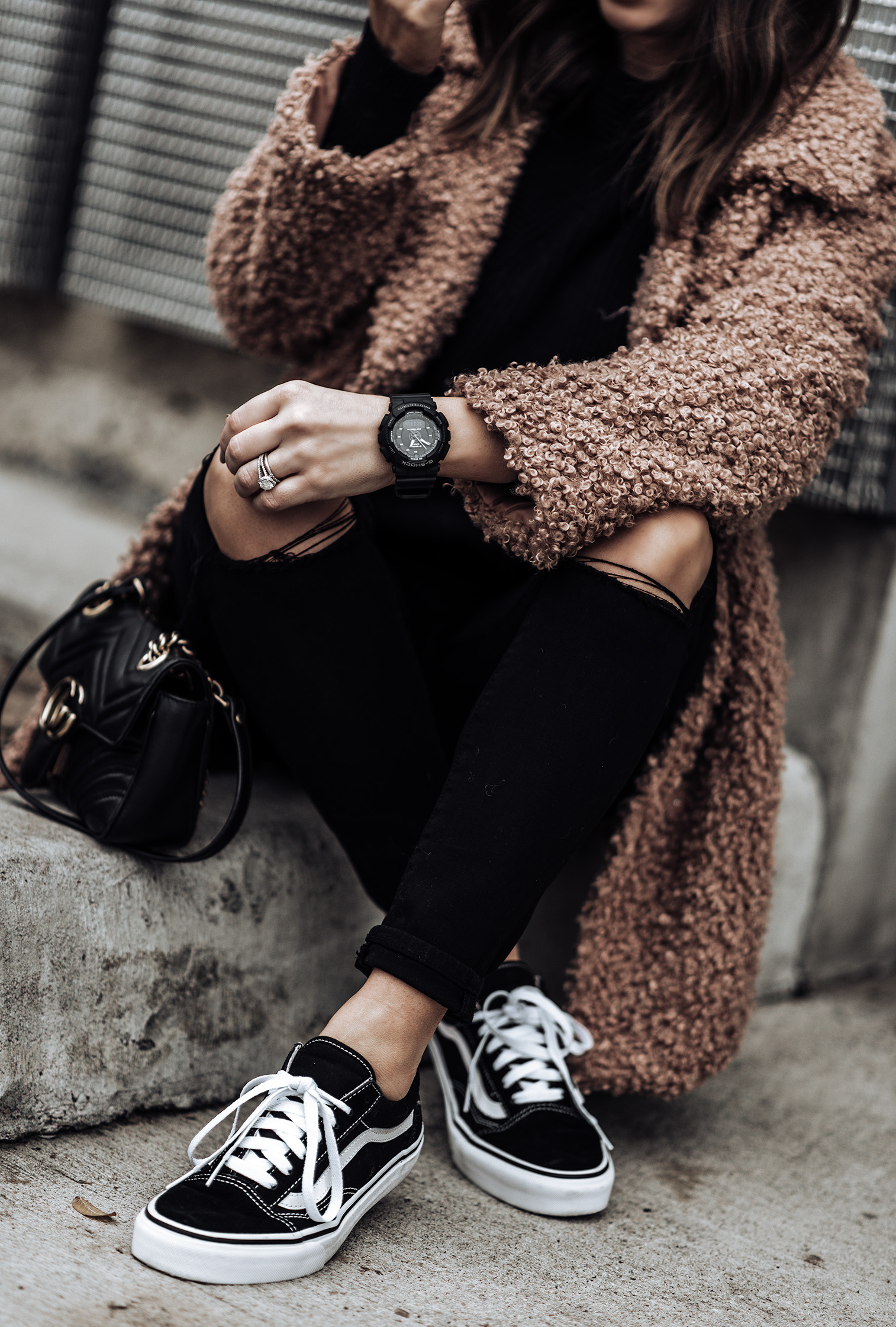 Tiffany Jais fashion and lifestyle blogger of Flaunt and Center | Houston fashion blogger | Teddy Coat | Streetstyle blog Teddy coat (similar) | G Shock Watch|Lovers + Friends Mason High-Rise Skinny Jeans | Vans Old Skool Sneakers | Gucci marmot Bag |