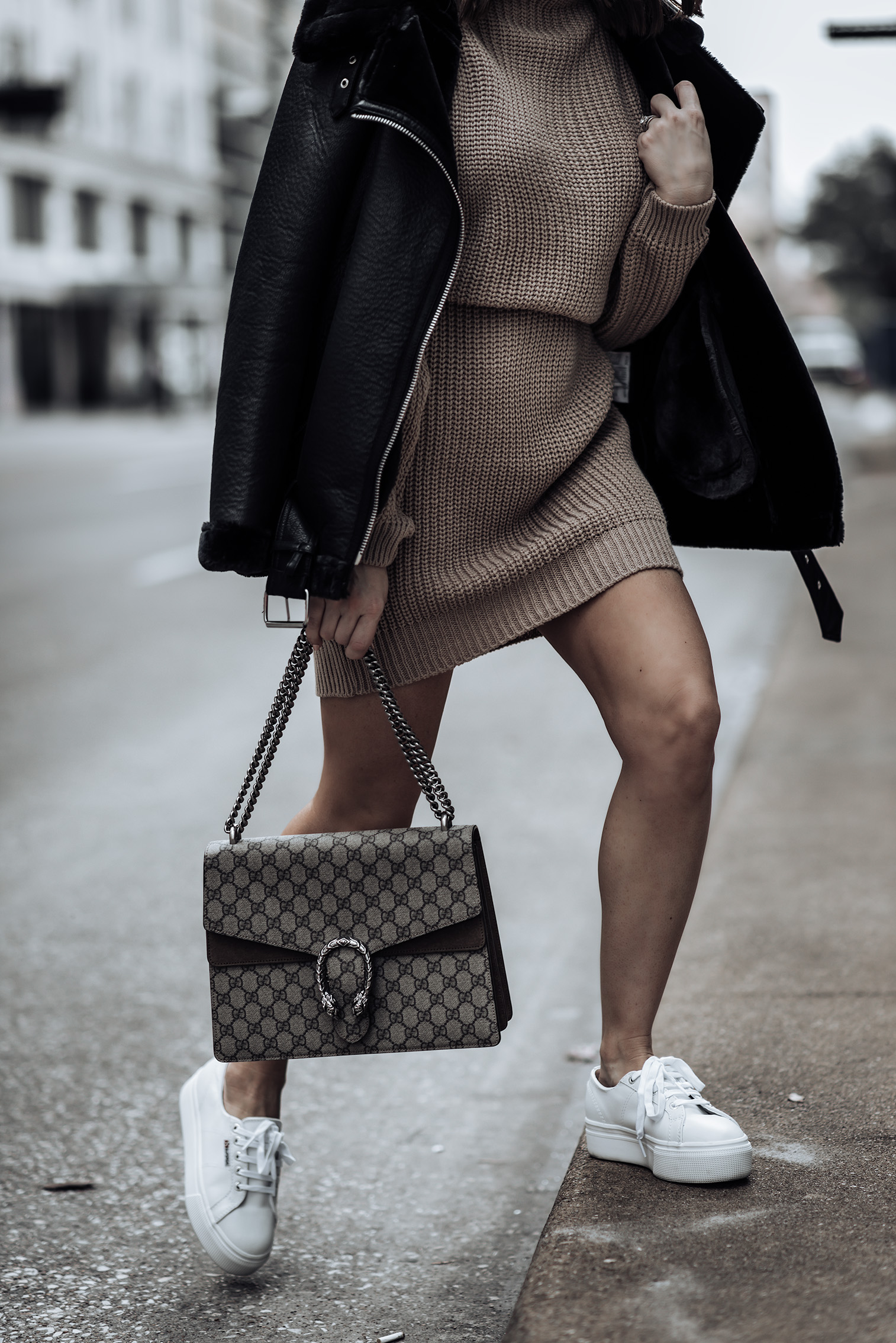 Transitioning into spring |Iffy Stone Oversized Cable Knit Sweater Dress | 2790 Platform Sneakers | Dionysus GG Bag | Oversized Biker Jacket | #sweaterdresss #liketkit #rewardstyle #streetstyle2018