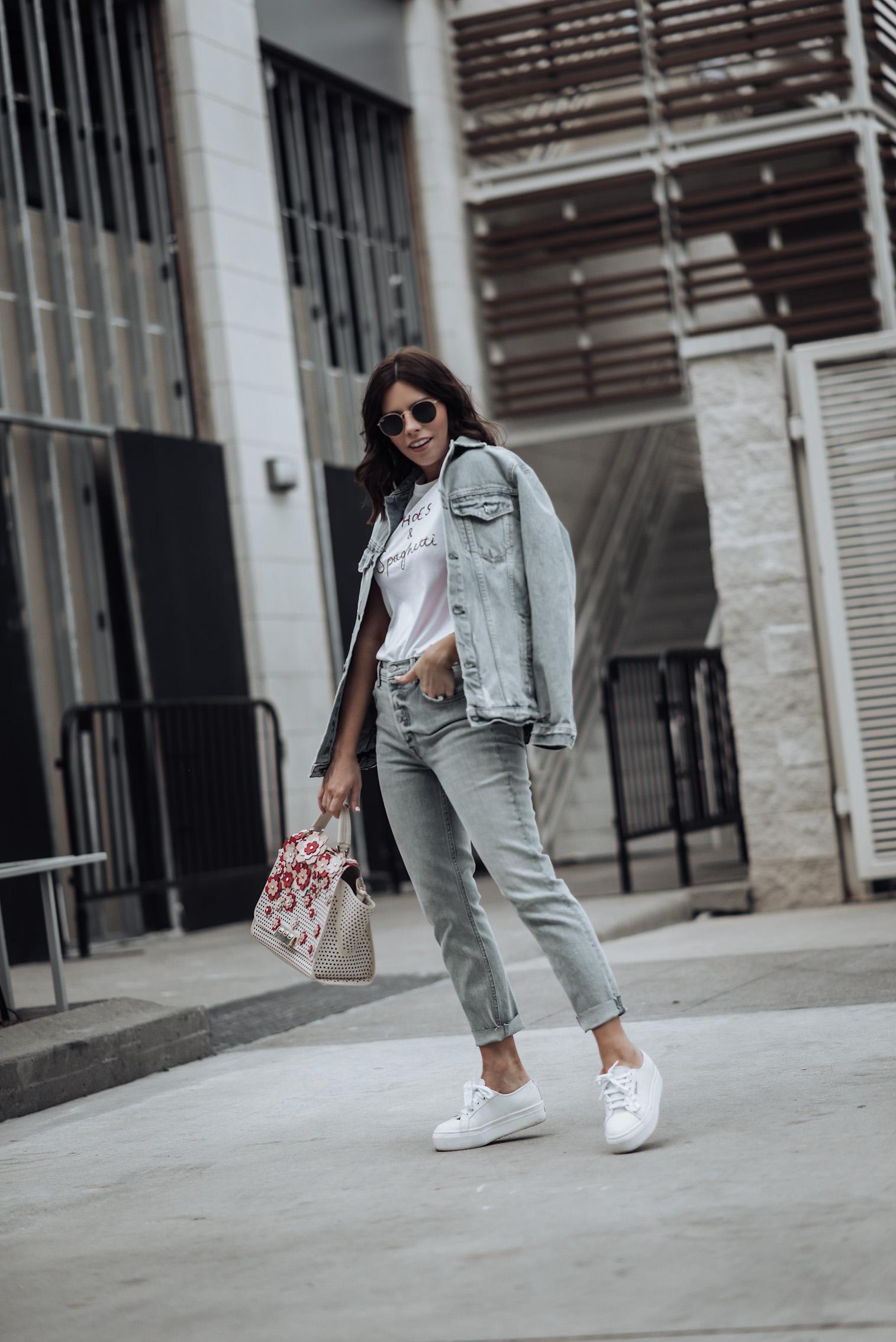 {C/O} GRLFRND Karolina Jeans | {C/O}GRLFRND Daria Denim Jacket | Zac Posen Bag | Shoes & Spaghetti T-Shirt | Superga Platform Sneakers | #streetstyle #liketkit #Revolve #denimoutfits