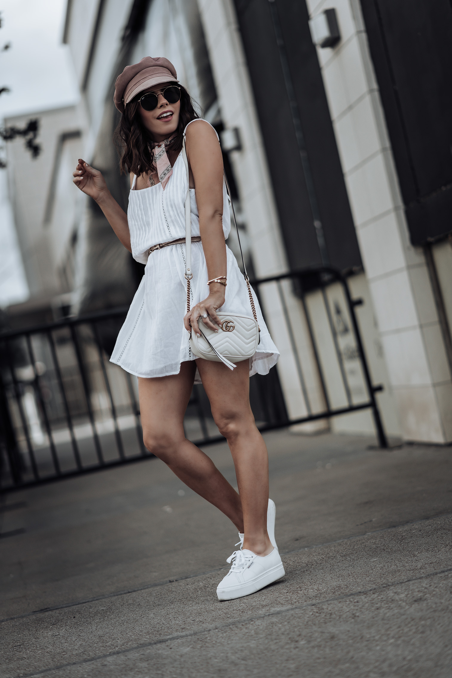 Little white dress | Pink Lola Cap (obsessed) | White Mini Summer Dress | Superga Platforms | Necktie (similar) | Gucci Bag #streetstyle #littlewhitedress #lackofcolor #gucci #liketkit