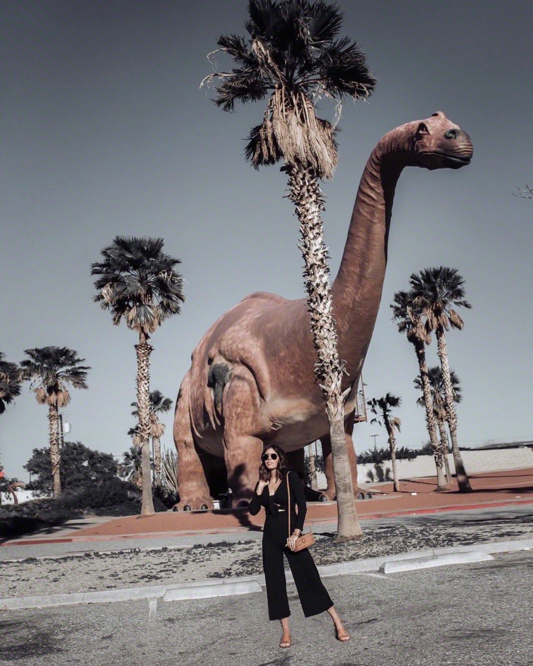 Friday Feels | Jumpsuit, straw handbag, Brown Slides, Palm Springs Dinosaurs | #liketkit #palmsprings #jumpsuit #streetstyle
