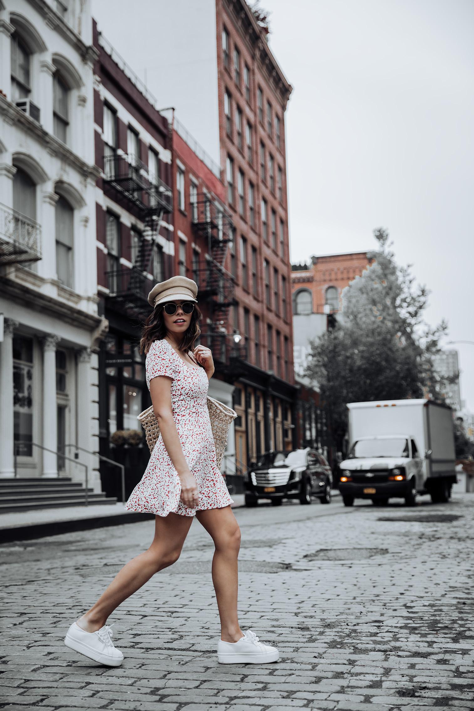 Flynn Skye Mini Dress   Superga Platform Sneakers   Knit Market Bag (Similar)  #liketkit